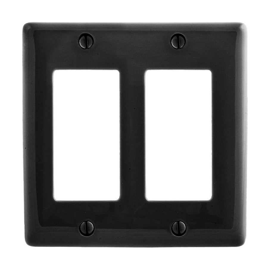 Hubbell 2-Gang Black Double Decorator Wall Plate
