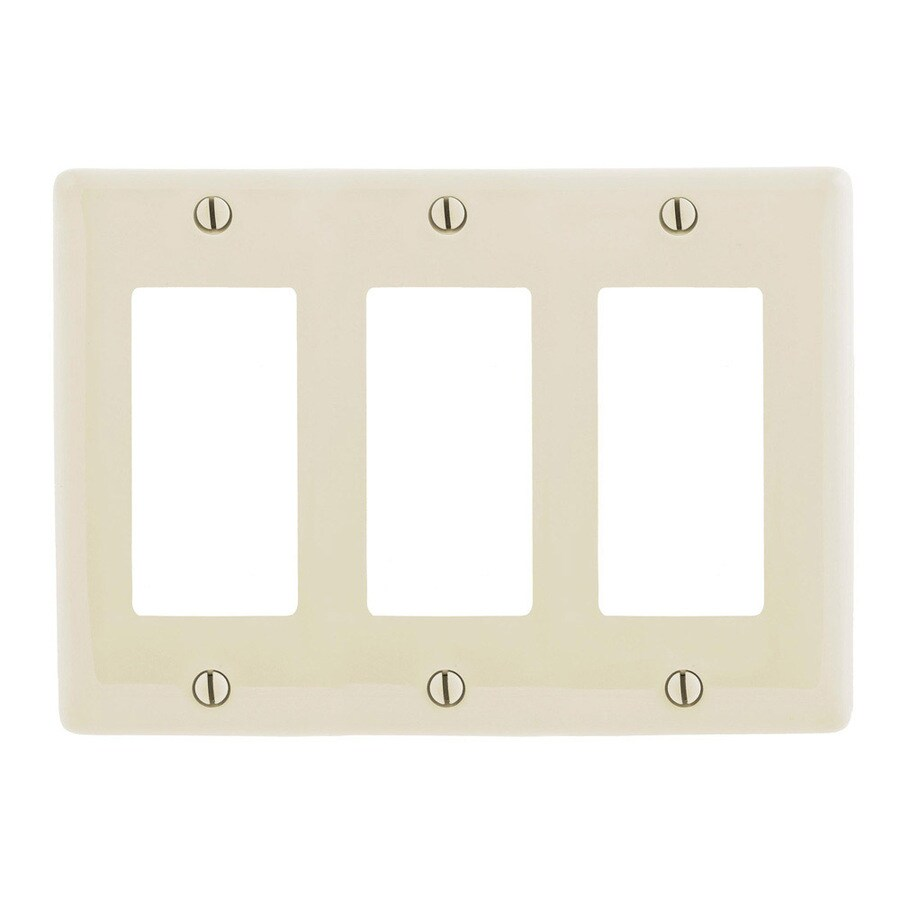 Hubbell 3-Gang Light Almond Triple Decorator Wall Plate