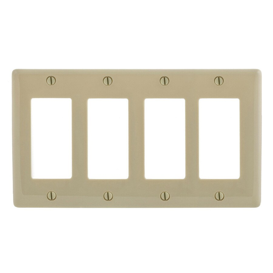 Hubbell 4-Gang Ivory Quad Decorator Wall Plate