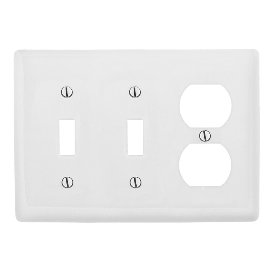 Hubbell 3-Gang White Double Toggle/Duplex Wall Plate