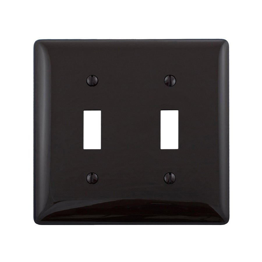 Hubbell 2-Gang Black Double Toggle Wall Plate