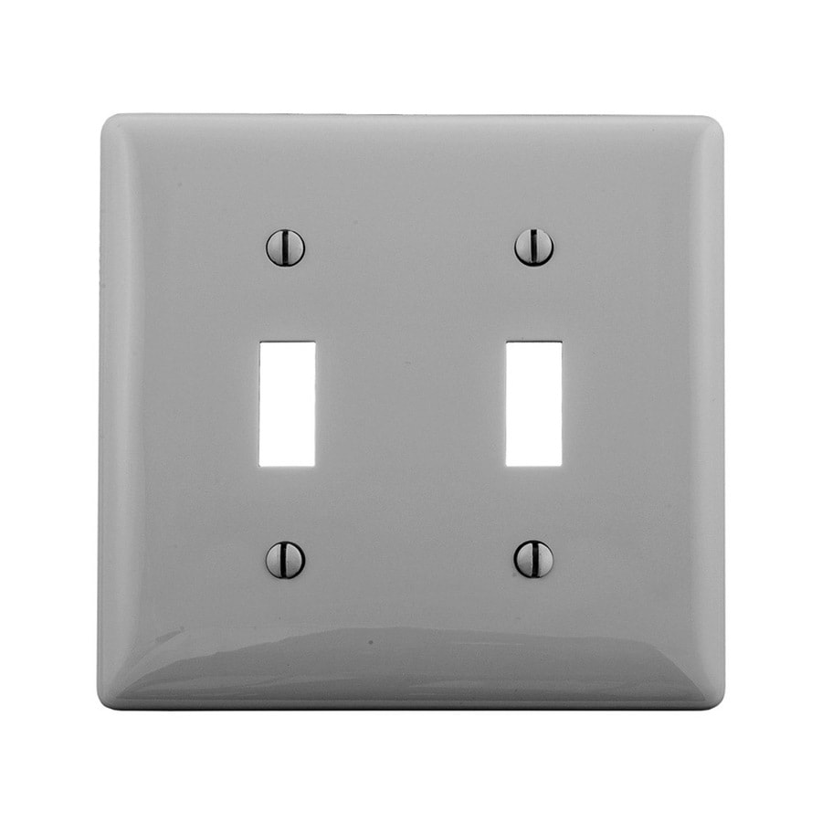 Hubbell 2-Gang Gray Double Toggle Wall Plate