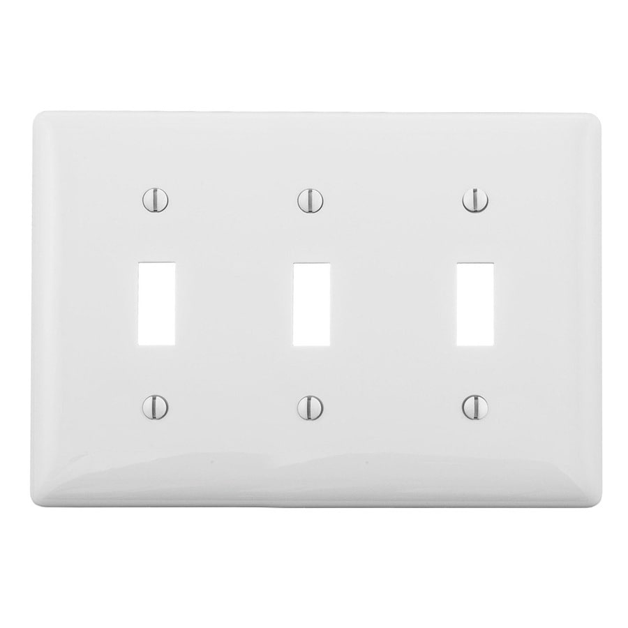 Hubbell 3-Gang White Triple Toggle Wall Plate
