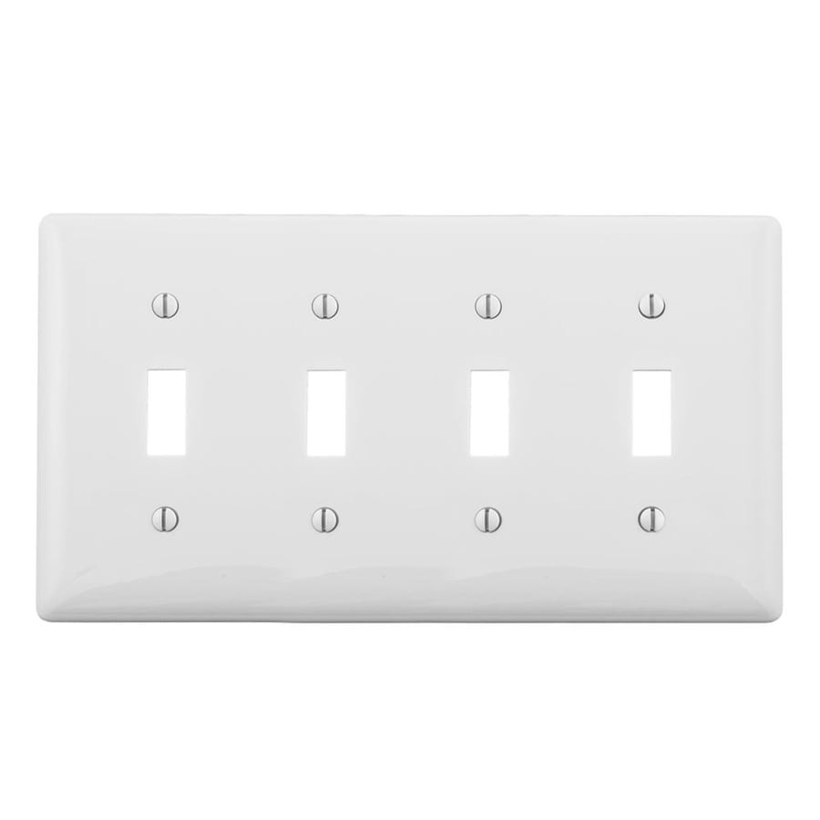Hubbell 4-Gang White Quad Toggle Wall Plate