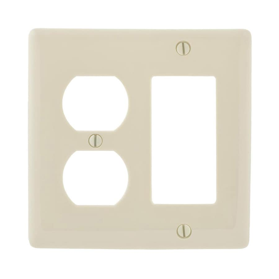 Hubbell 2-Gang Light Almond Double Duplex/Decorator Wall Plate