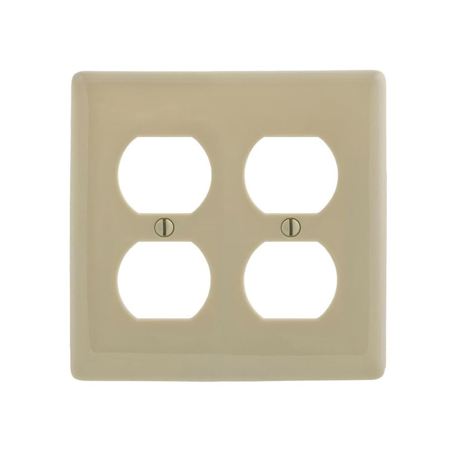 Hubbell 2-Gang Ivory Double Duplex Wall Plate