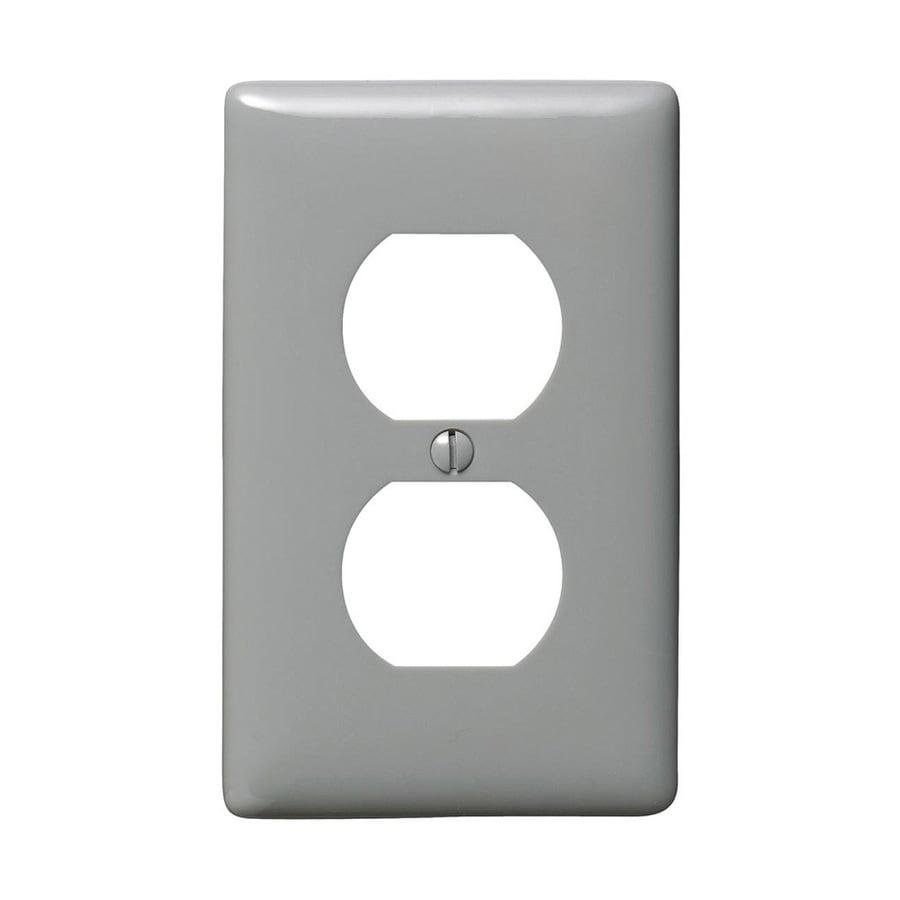 Hubbell 1-Gang Gray Single Duplex Wall Plate