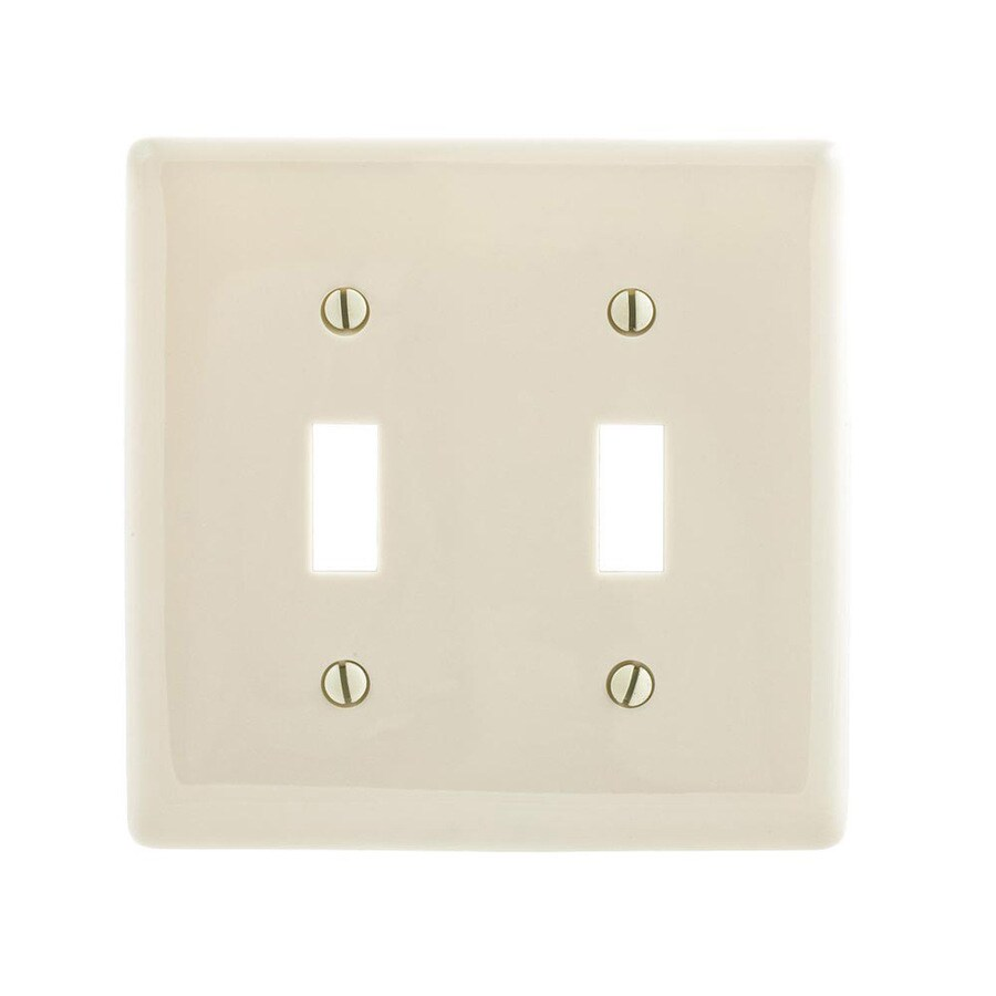 Hubbell 2-Gang Light Almond Double Toggle Wall Plate