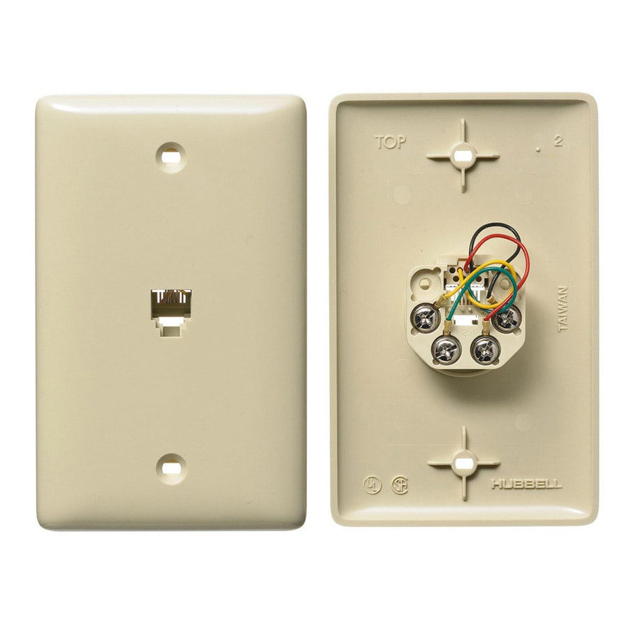 Hubbell 1-Gang Ivory Single Phone Wall Plate