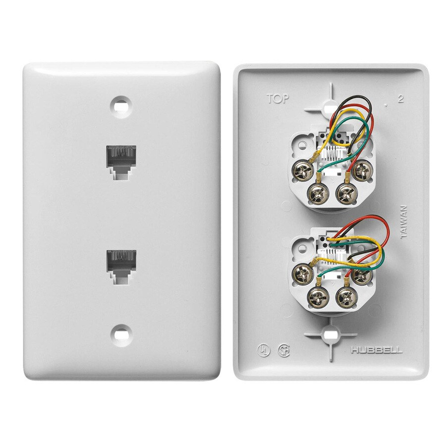 Hubbell 1-Gang White Double Phone Wall Plate