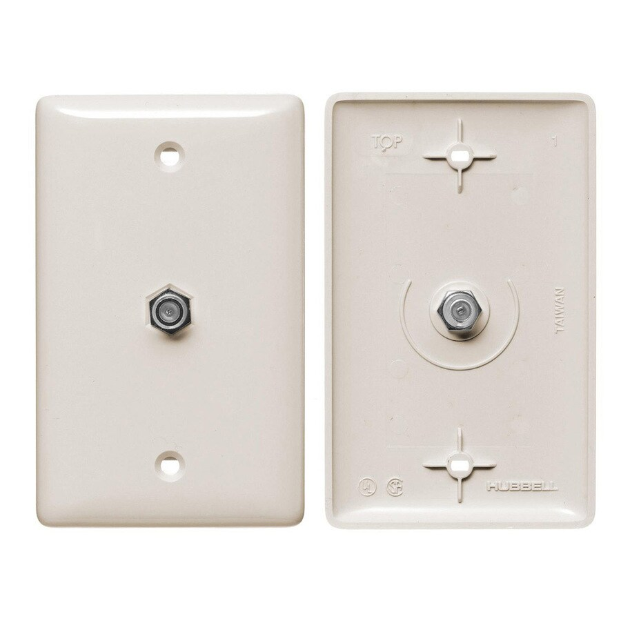 Hubbell 1-Gang Light Almond Single Coaxial Wall Plate