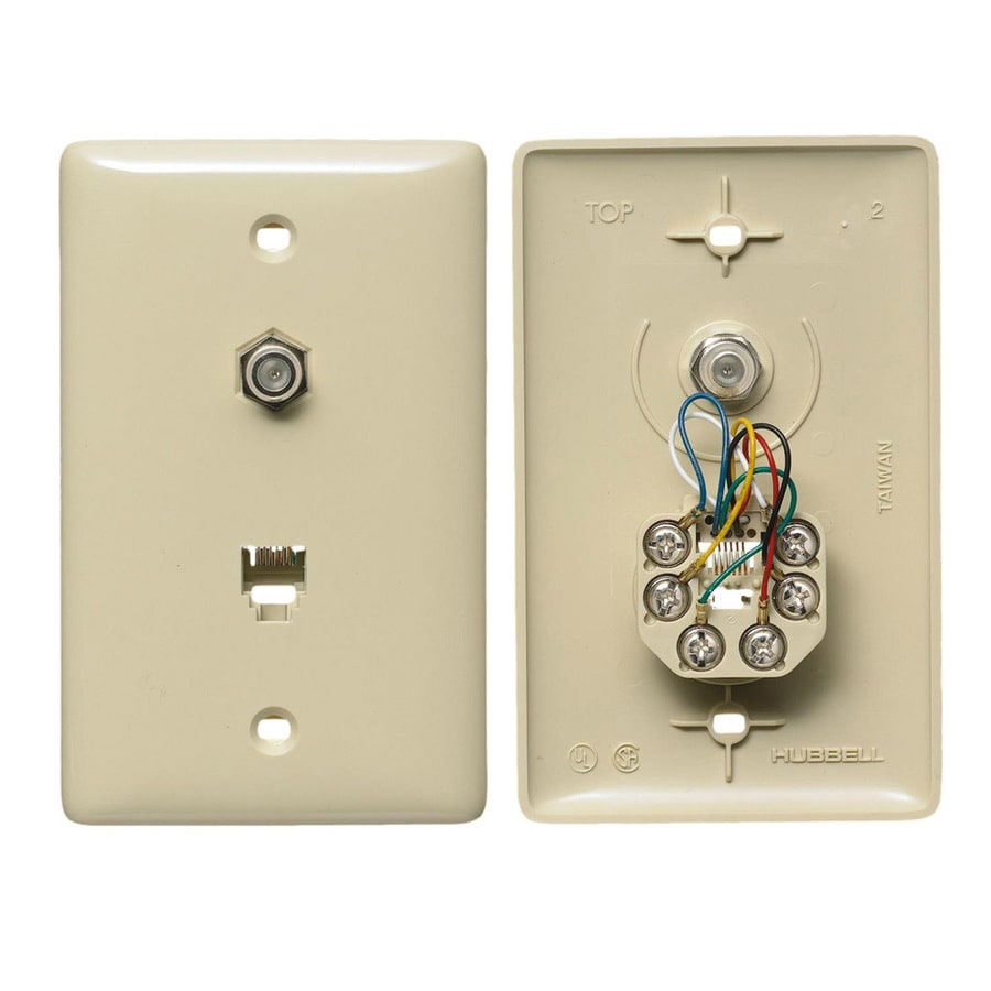 Hubbell 1-Gang Ivory Single Phone/Coaxial Wall Plate