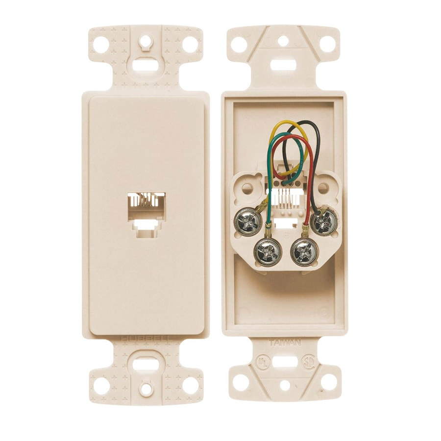 Hubbell 1-Gang Light Almond Single Decorator Phone Wall Plate Insert