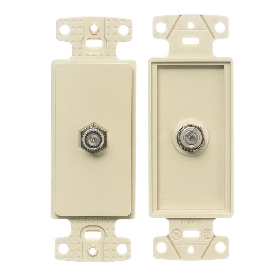 Hubbell 1-Gang Light Almond Single Decorator Coaxial Wall Plate Insert