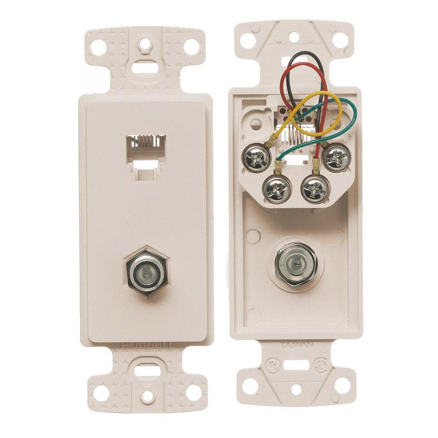 Hubbell Nylon F-Type Coax/Telephone Wall Jack