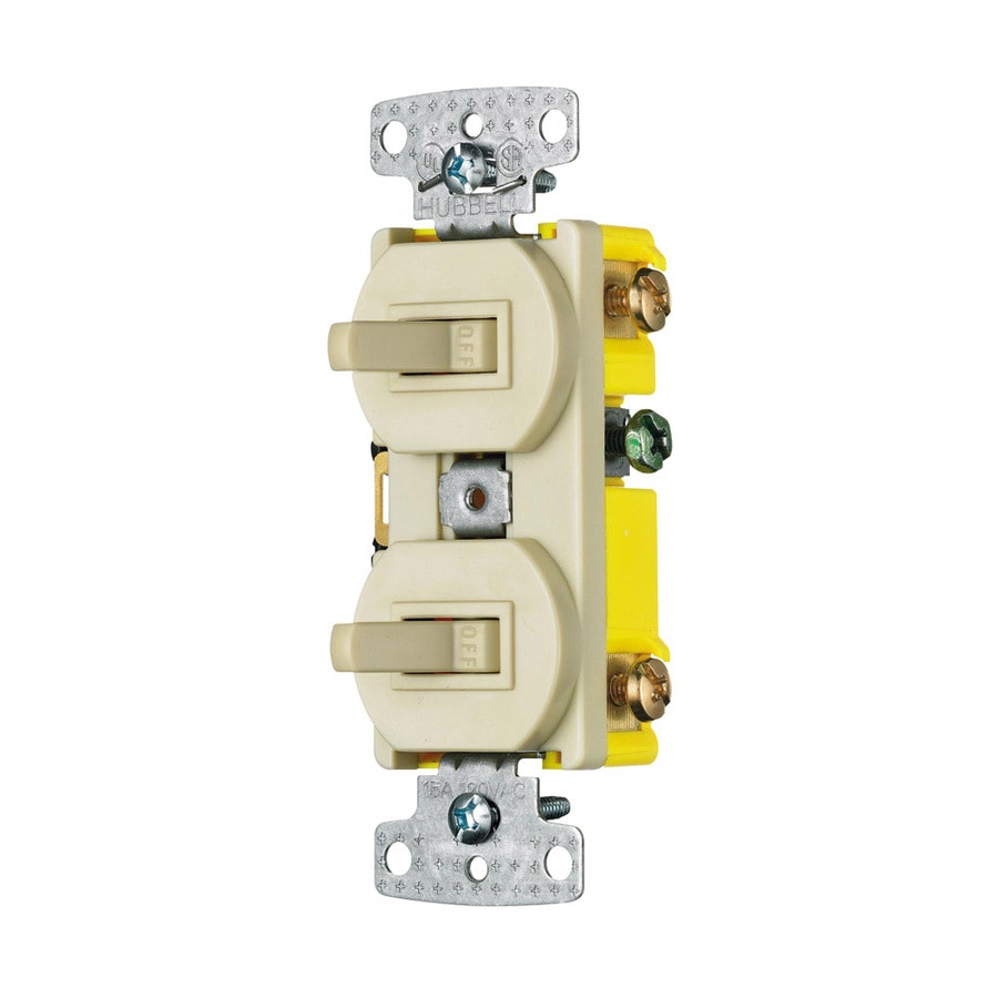 Hubbell 2-Switch 15-Amp Single Pole Ivory Indoor Toggle Light Switch