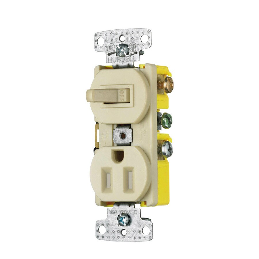 Hubbell 15-Amp 125-Volt Ivory Indoor Duplex Wall Tamper Resistant Outlet/Switch