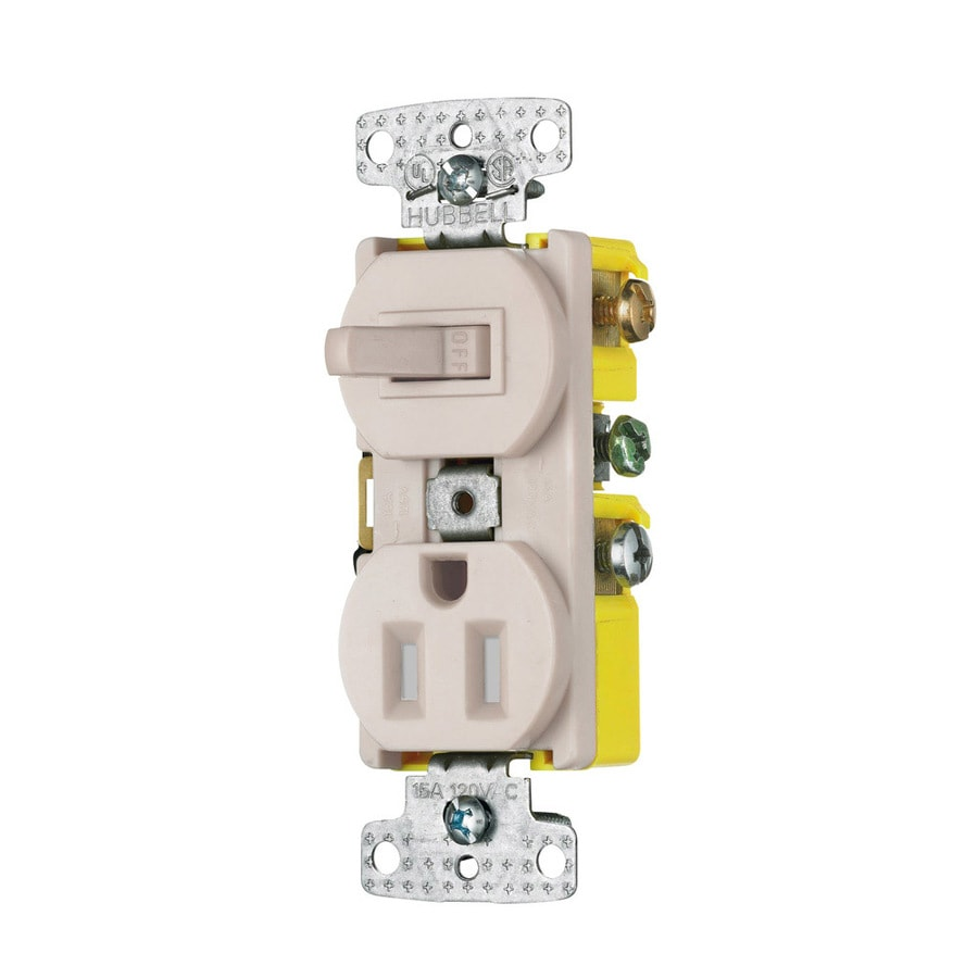 Hubbell 15 125-Volt Light Almond Indoor Duplex Wall Tamper Resistant Outlet/Switch