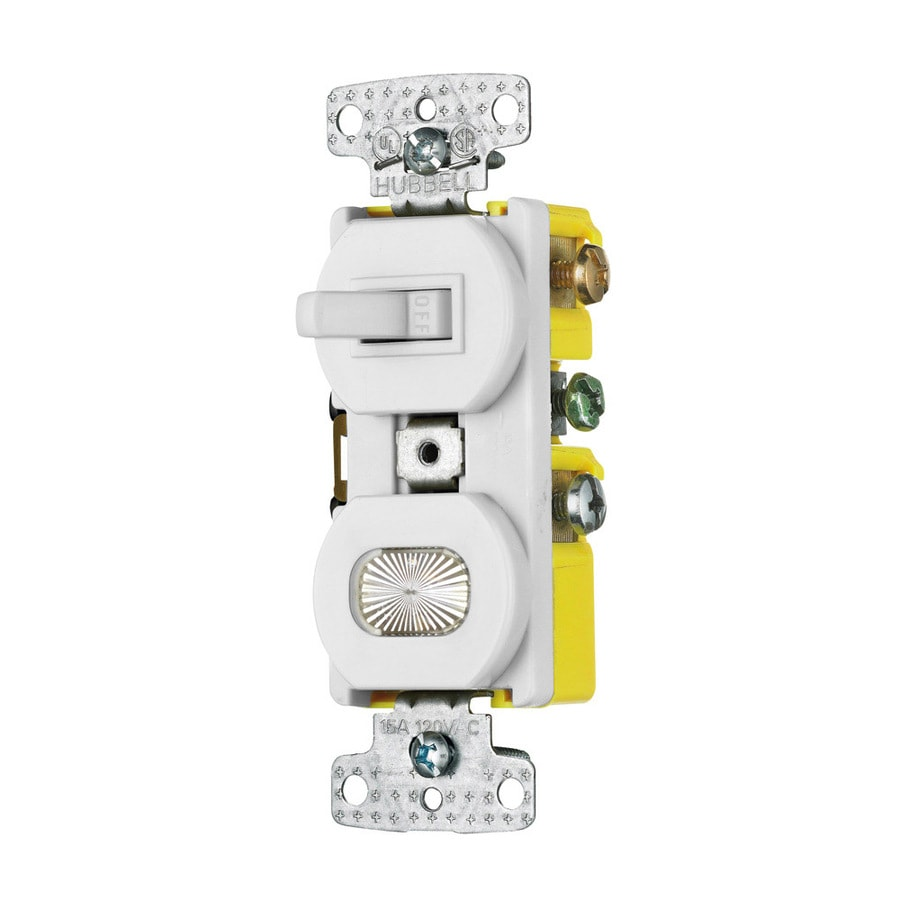 Hubbell 15-Amp Single Pole White Indoor Toggle Light Switch