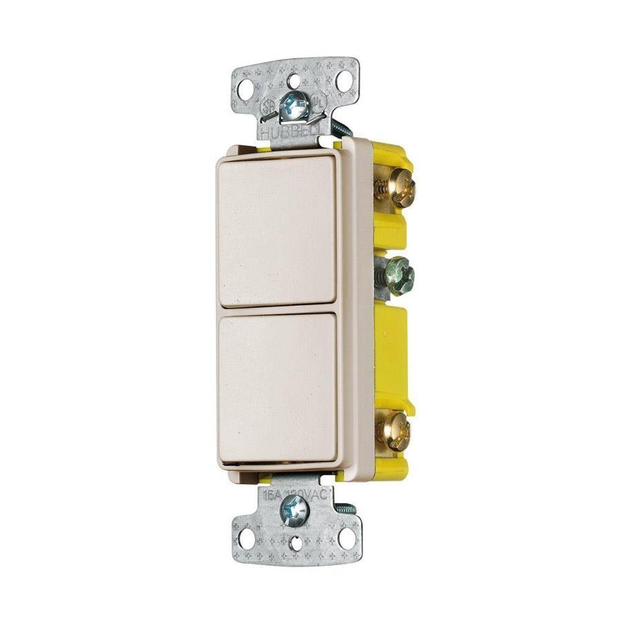 Hubbell 2-Switch 15-amp Single Pole Light almond Rocker Indoor Light Switch