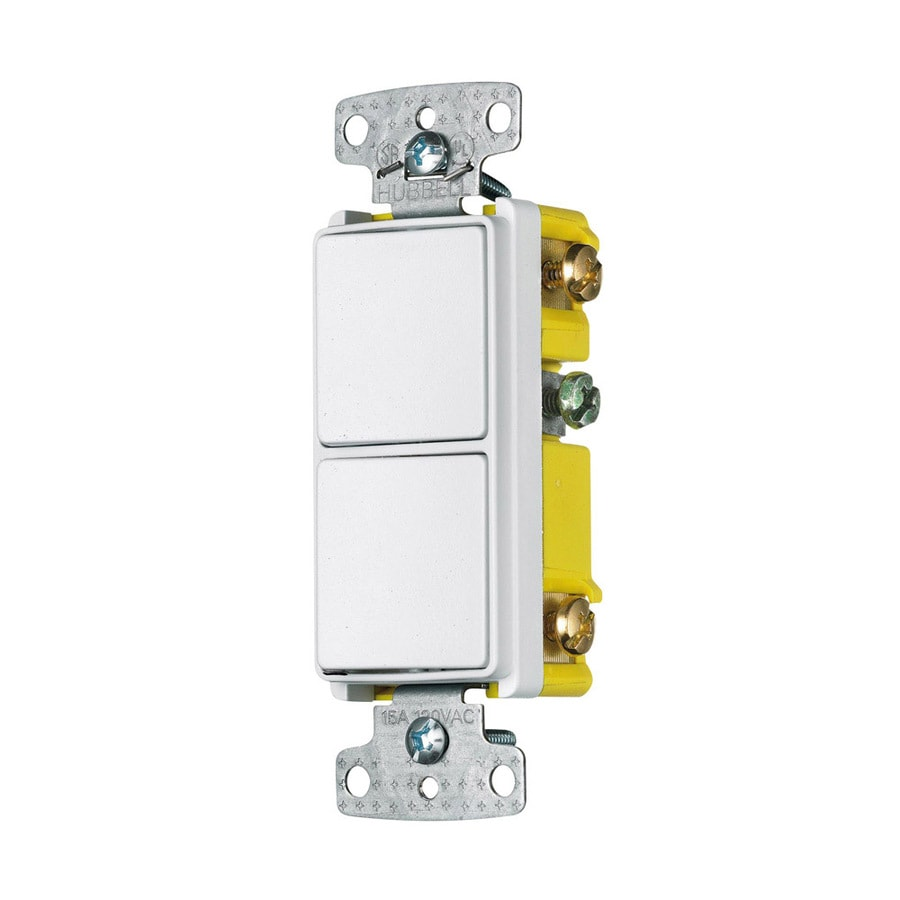 Hubbell 2-Switch 15-Amp Single Pole 3-Way White Rocker Indoor Light Switch