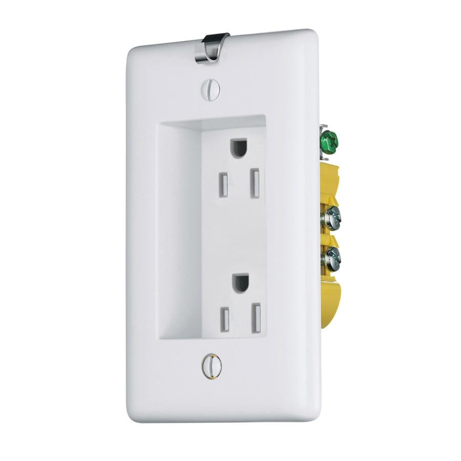 Hubbell 15-Amp 125-Volt White Recessed Indoor Duplex Wall Outlet
