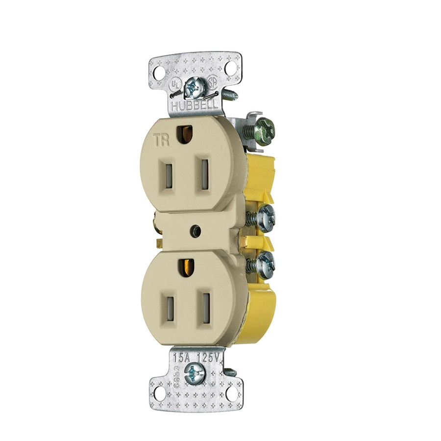 Hubbell X-Clamp 10-Pack 15-Amp 125-Volt Ivory Indoor Duplex Wall Tamper Resistant Outlet