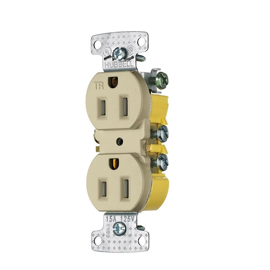 Hubbell 10-Pack 15-Amp 125-Volt Ivory Indoor Duplex Wall Tamper Resistant Outlet