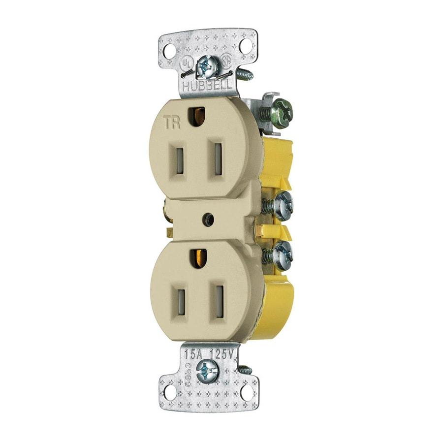 Hubbell 15-Amp 125-Volt Ivory Indoor Duplex Wall Tamper Resistant Outlet