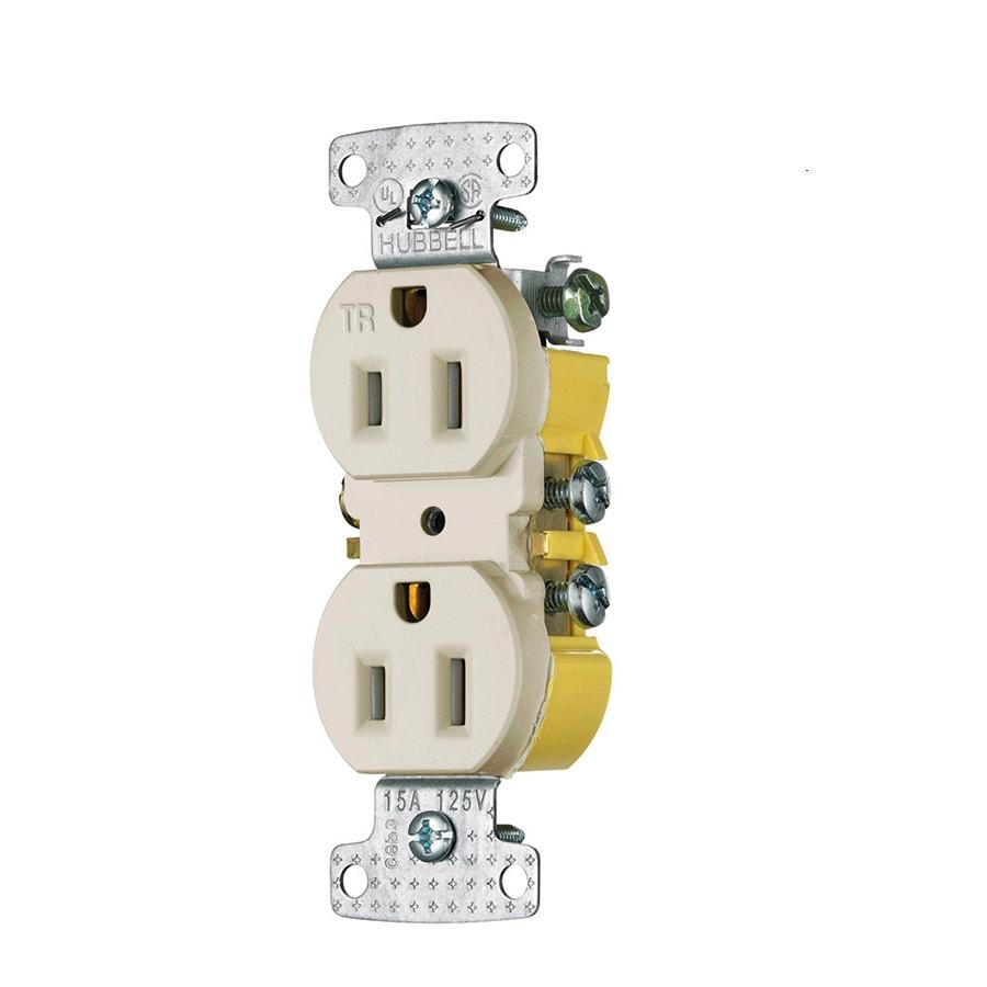 Hubbell 10-Pack 15-Amp 125-Volt Light Almond Indoor Duplex Wall Tamper Resistant Outlets