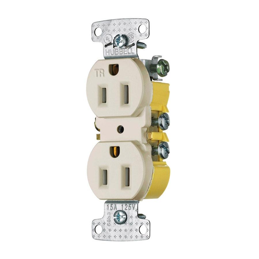 Hubbell 15-Amp 125-Volt Light Almond Indoor Duplex Wall Tamper Resistant Outlet