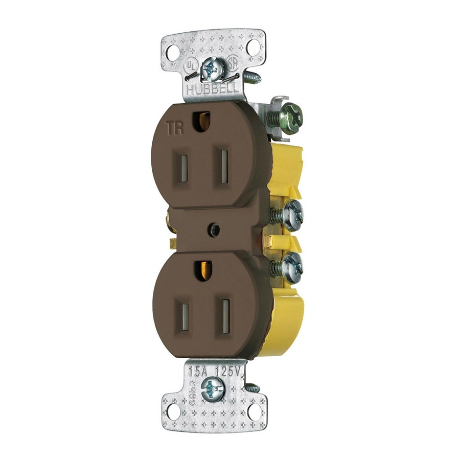 Hubbell 15-Amp 125-Volt Brown Indoor Duplex Wall Tamper Resistant Outlet