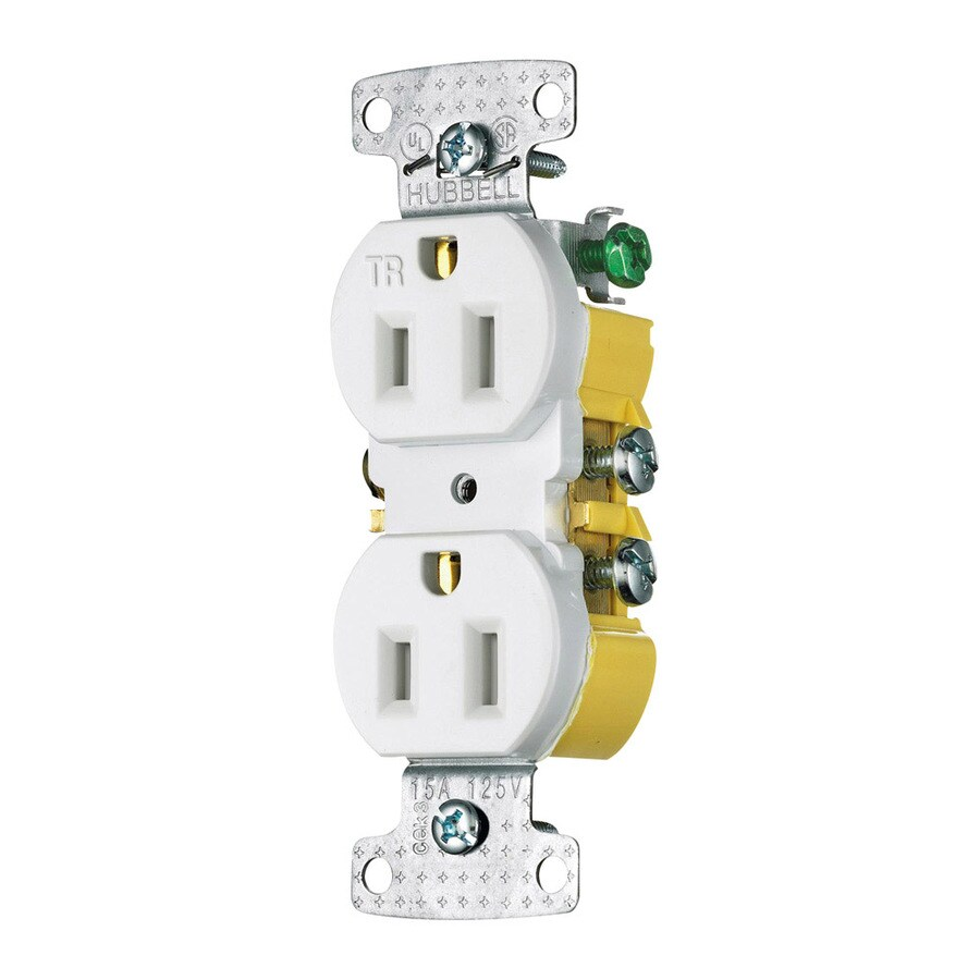 Hubbell 15-Amp 125-Volt White Indoor Duplex Wall Tamper Resistant Outlet