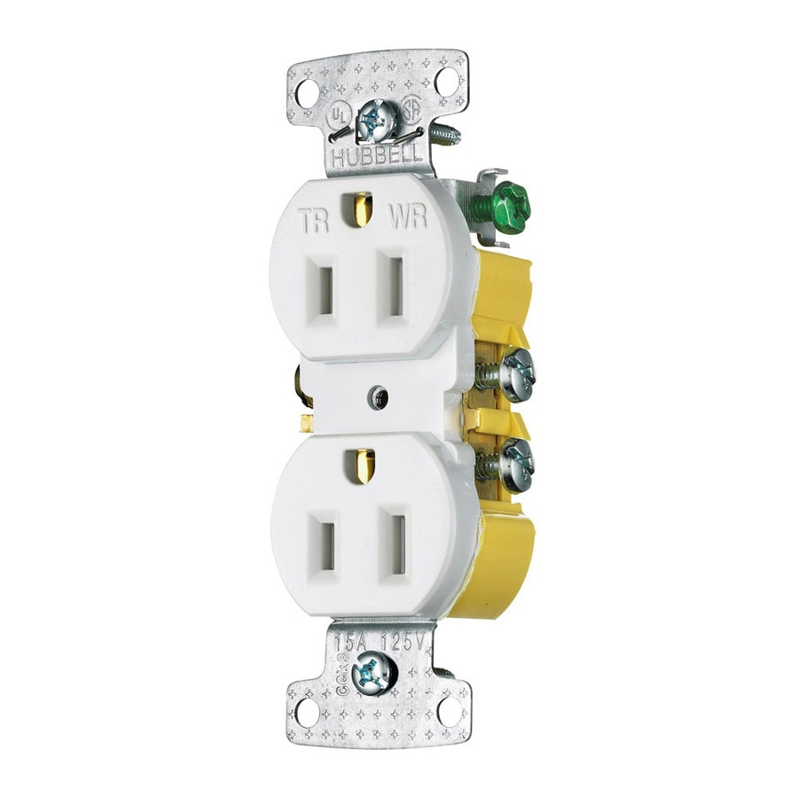 Hubbell 15 125-Volt White Indoor/Outdoor Duplex Wall Tamper Resistant Outlet