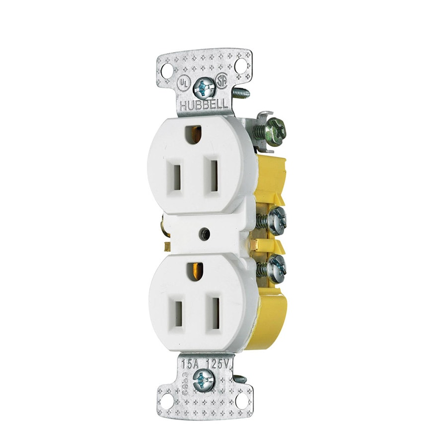 Hubbell 10-Pack 15-Amp 125-Volt White Indoor Duplex Wall Outlet
