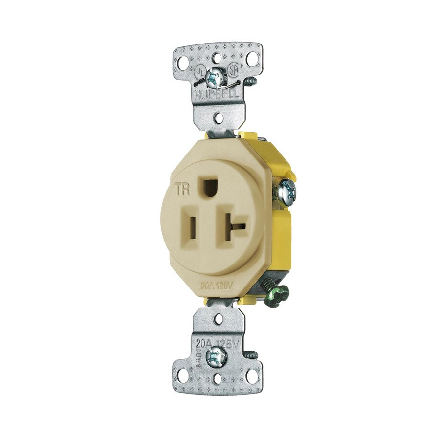 Hubbell 20-Amp 125-Volt Ivory Indoor Round Wall Tamper Resistant Outlet