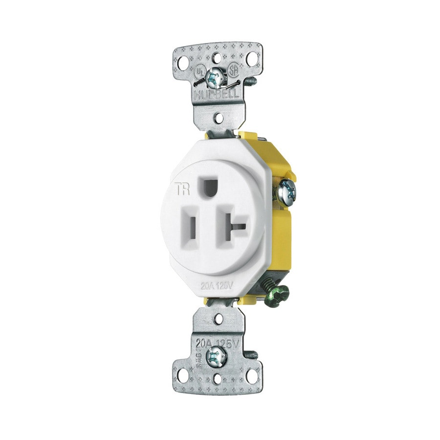 Hubbell 20-Amp 125-volt White Indoor Round Wall Tamper Resistant Outlet