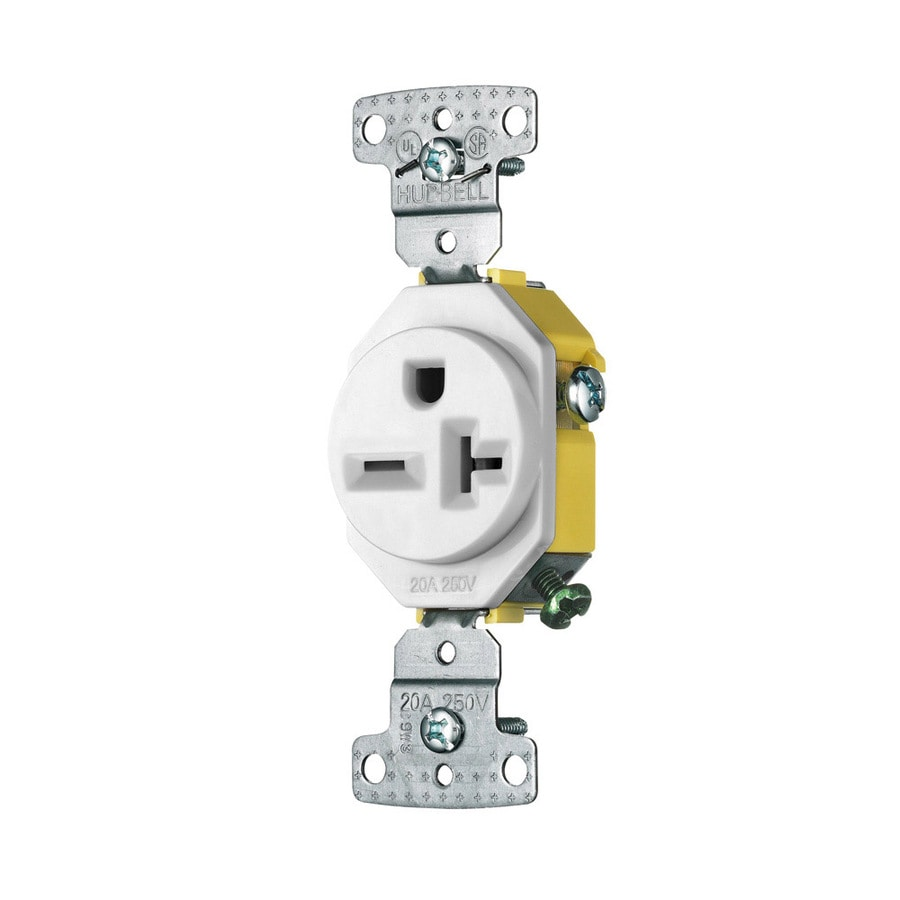 Outdoor Kitchen Electrical Outlet For Home Design Great: Shop Hubbell 20-Amp 250-Volt White Round Wall Air