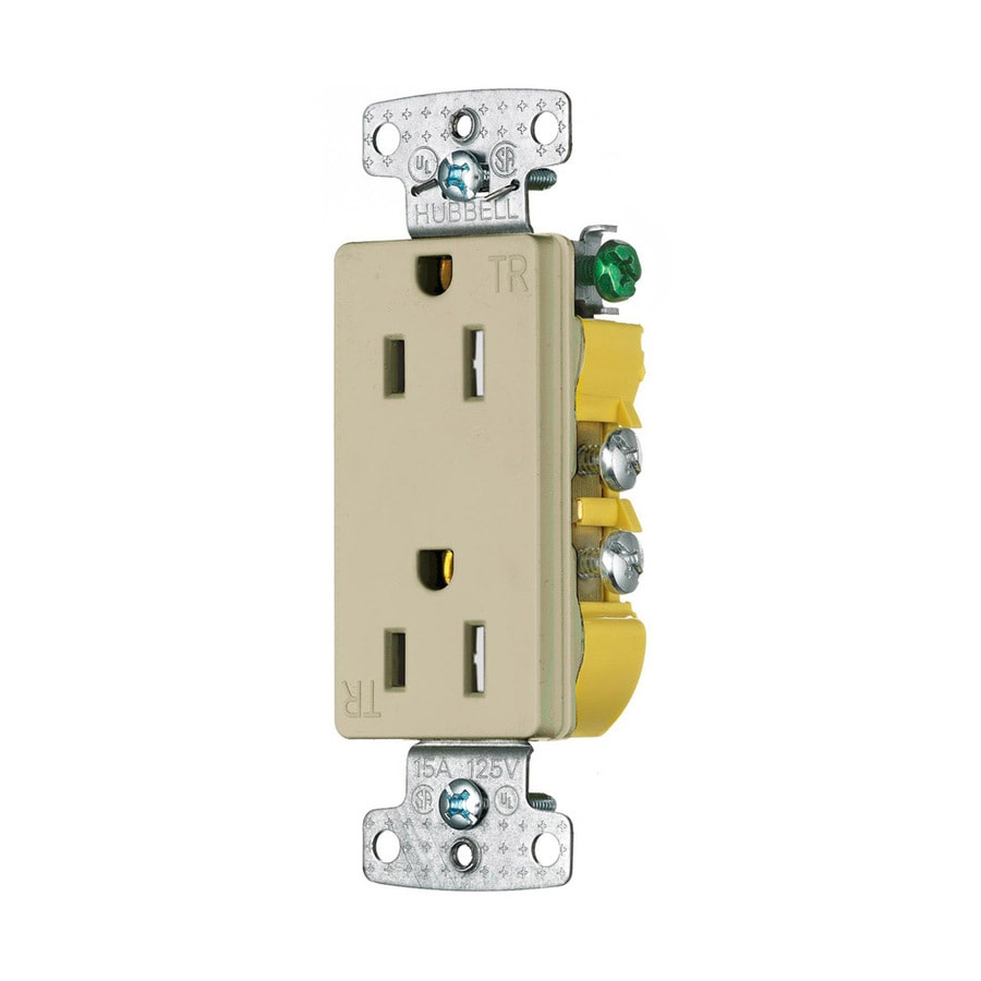 Hubbell X-Clamp 15-Amp 125-Volt Ivory Indoor Decorator Wall Tamper Resistant Outlet