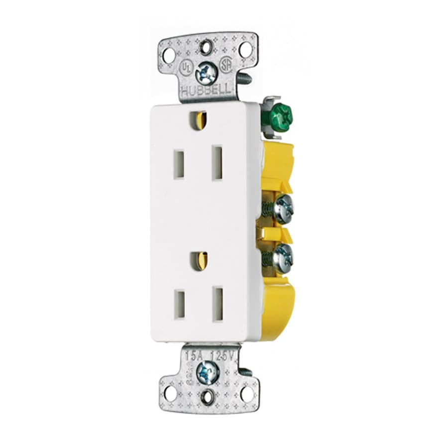 Hubbell 10-Pack 15-Amp 125-Volt White Indoor Decorator Wall Outlets
