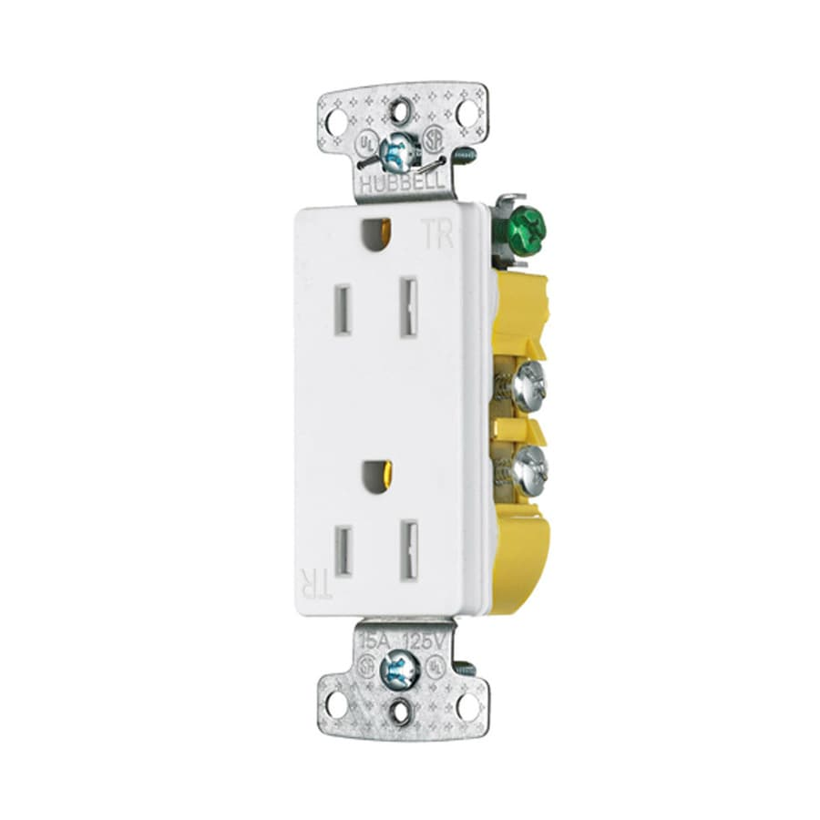 Hubbell 15-Amp 125-Volt White Indoor Decorator Wall Tamper Resistant Outlet