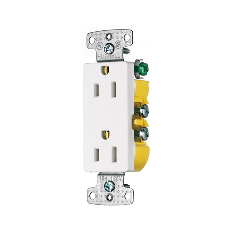 Hubbell 15-Amp 125-Volt White Indoor Decorator Wall Outlet