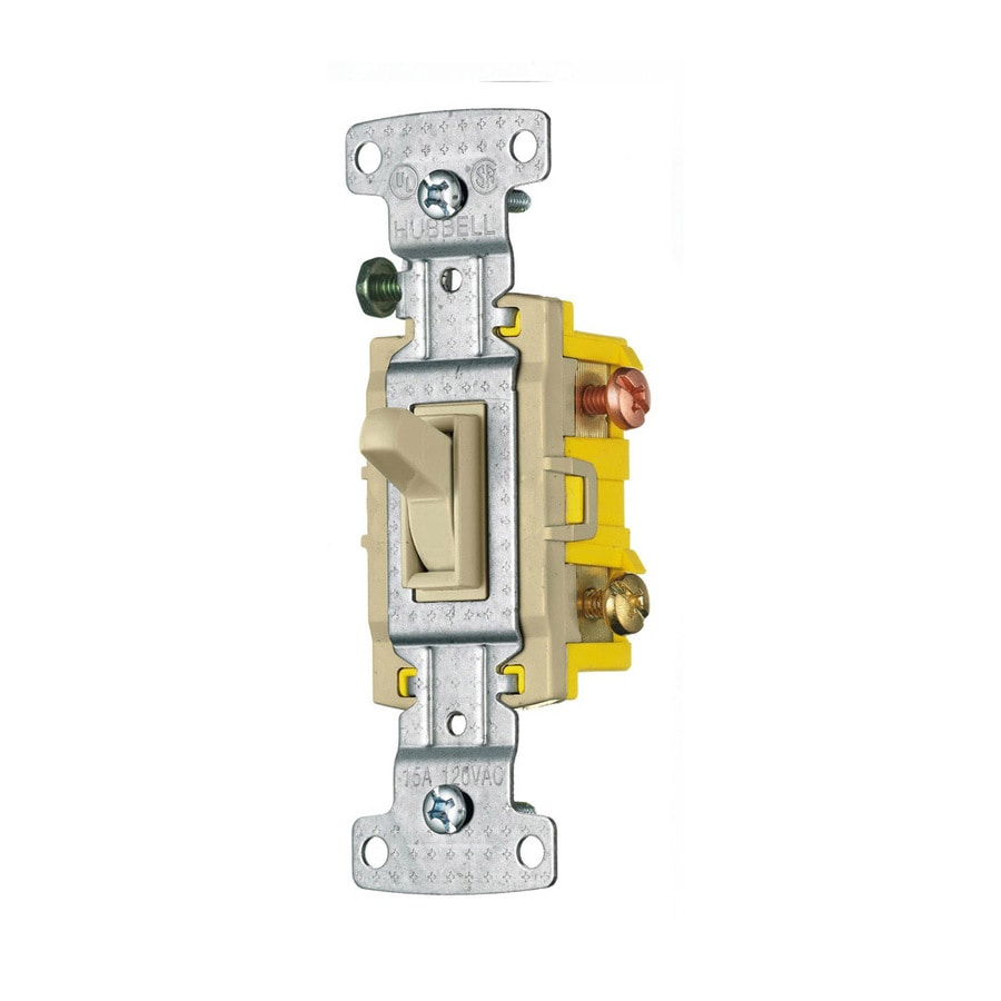 Hubbell 15-amp 3-way Ivory Framed Toggle Indoor Light Switch