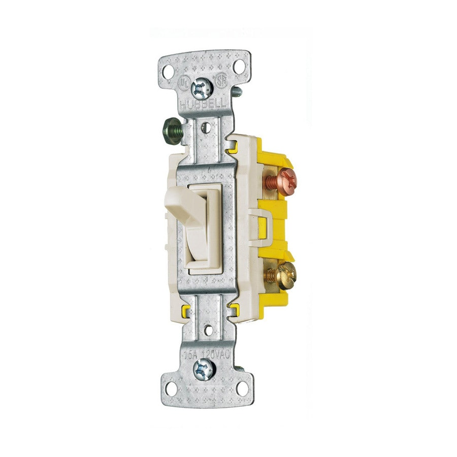 Hubbell 15-Amp 3-Way Light Almond Indoor Framed Toggle Light Switch