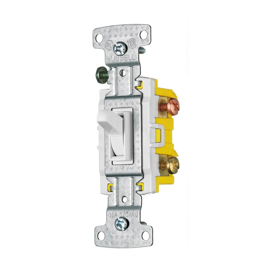 hubbell 15-amp 3-way white framed toggle residential light switch  1 rating