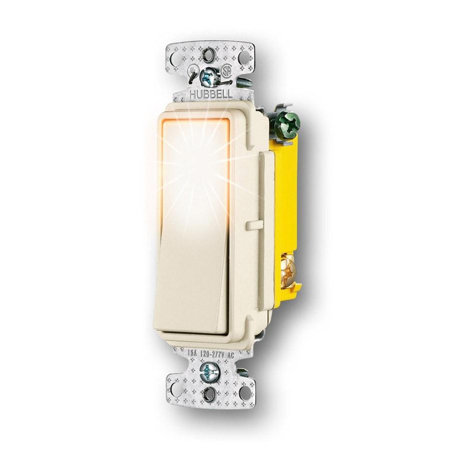 Hubbell 15-Amp 3-Way Light Almond Rocker Indoor Light Switch