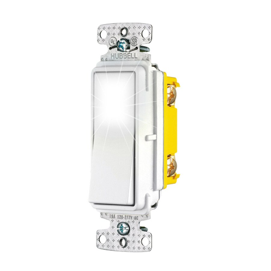 Hubbell 15-Amp 3-Way White Indoor Rocker Light Switch