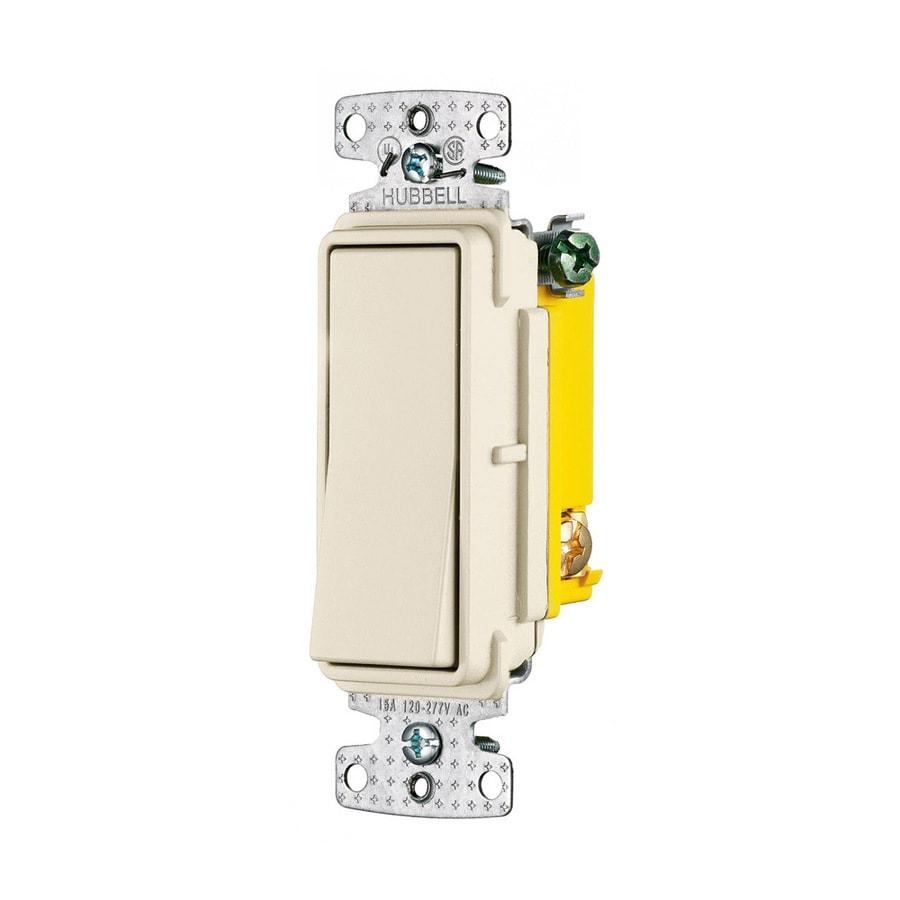 Hubbell 15-Amp 3-Way Light Almond Indoor Rocker Light Switch