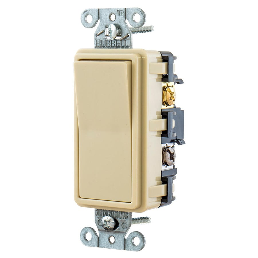 Hubbell 15-amp 4-way Ivory Rocker Indoor Light Switch