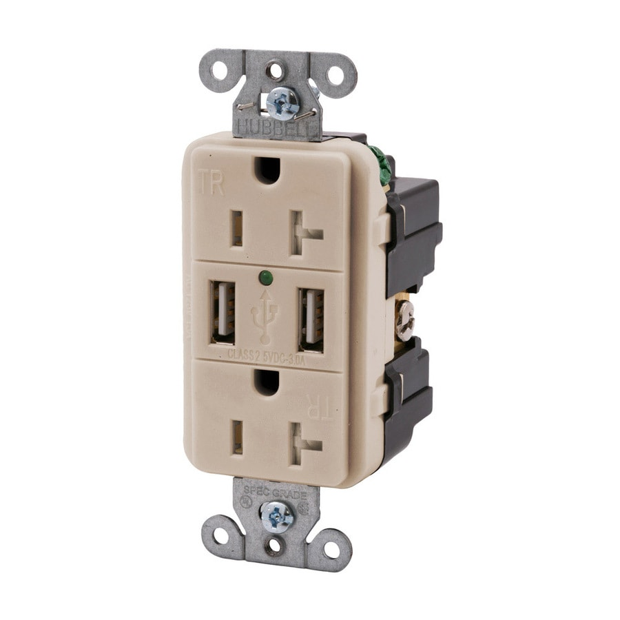 Hubbell 20-Amp 125-volt Light almond Indoor Decorator Wall Outlet/Usb
